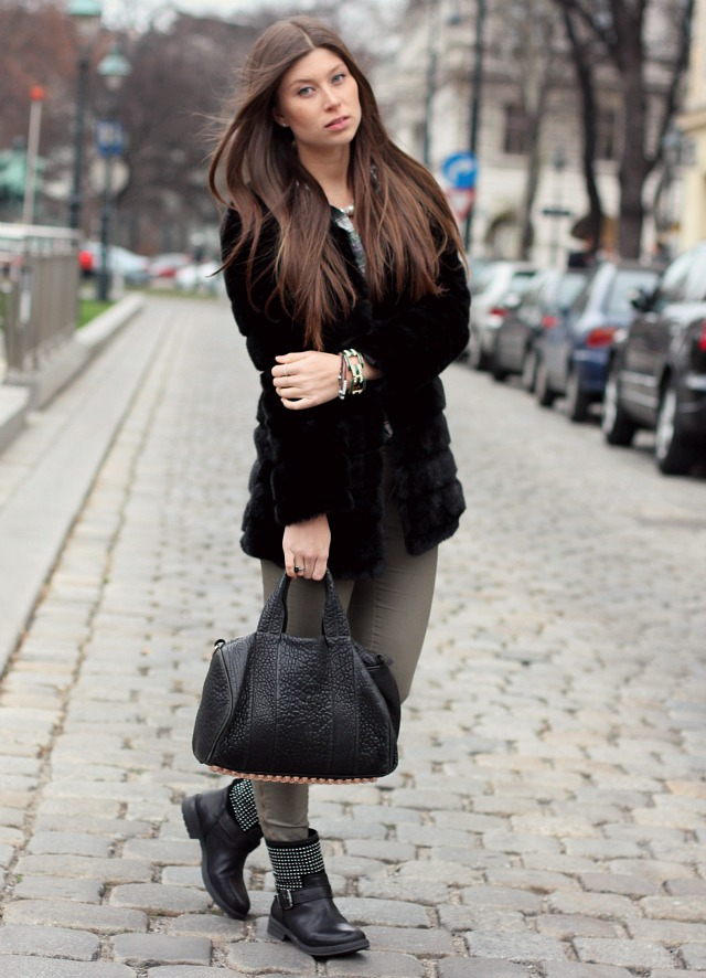 faux fur and biker boots