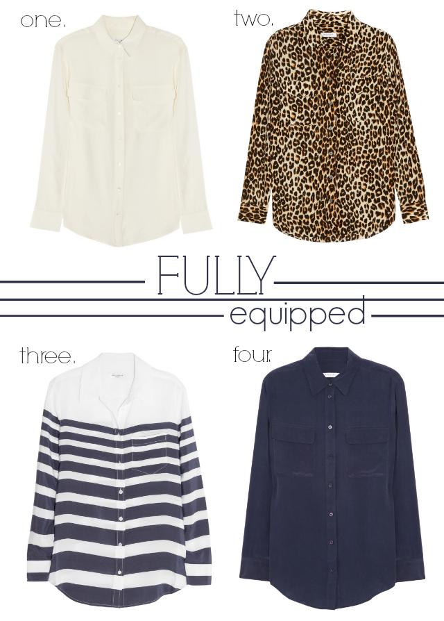 silky blouses by Equipment via Net-a-Porter