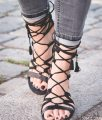 "Schutz lace-up gladiator sandals ""billa"" suede - Bikinis & Passports"