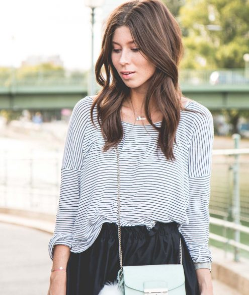 OUTFIT: black flared skirt + striped shirt | Bikinis & Passports