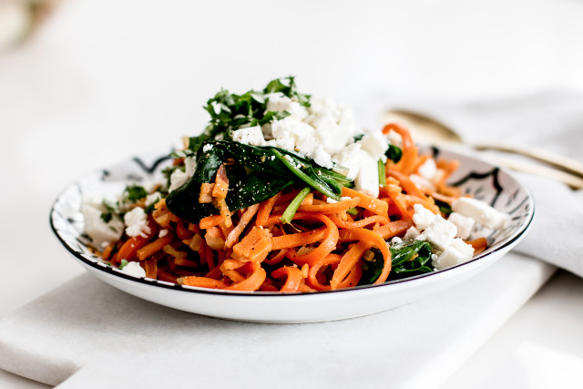 Kenwood Spiralizer Sweet Potato Noodles with Spinach & Feta Recipe | Bikinis & Passports
