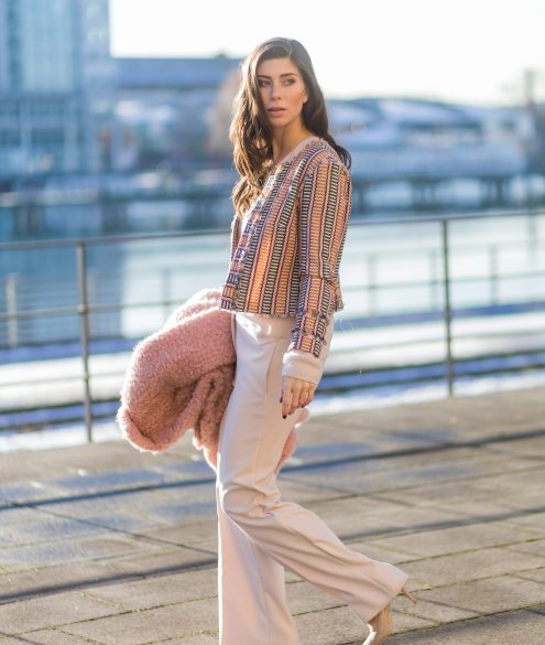 BERLIN, GERMANY - JANUARY 17: Vicky Heiler wearing a pink teddy coat Marc Cain, white creme Marc Cain wide leg pants, knit during the Mercedes-Benz Fashion Week Berlin A/W 2017 on January 17, 2017 in Berlin, Germany. (Photo by Christian Vierig/Getty Images) *** Local Caption *** Vicky Heiler