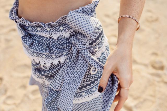 Dodo Bar Or Abigail skirt with ruffles, blue & white - Bikinis & Passports