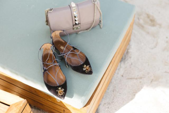Aquazzura Christy Flats (velvet) + Valentino Medium Lock Bag - Bikinis & Passports