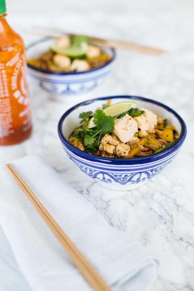 Asian Noodles with Tofu Recipe | Bikinis & Passports
