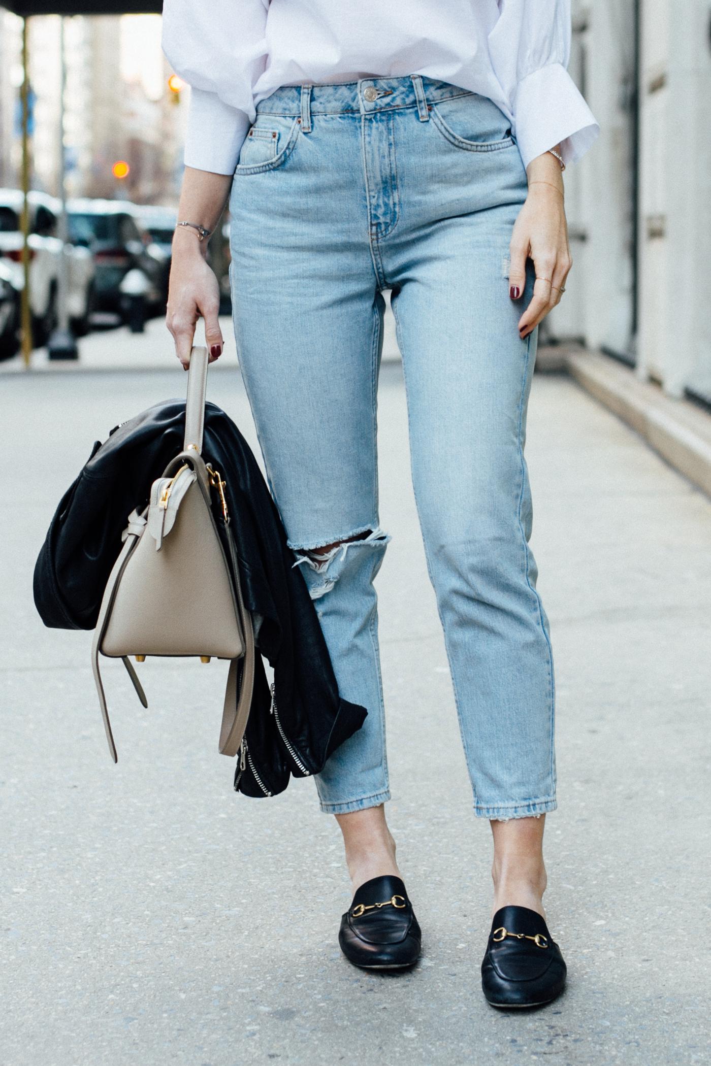 Topshop Moto Tapered Bleached Mom Jeans | Bikinis & Passports
