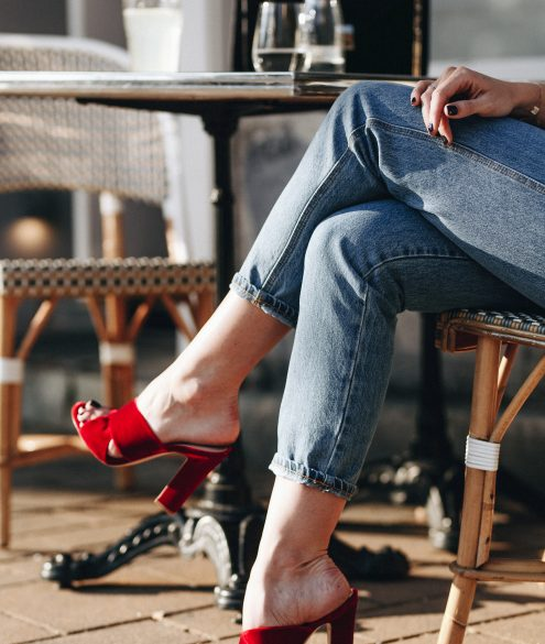 Closed pedal pusher jeans + red velvet mules by Gianvito Rossi | Bikinis & Passports