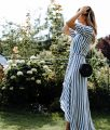 Bridesmaid Dress Stripes: Reformation Wrap Dress | Bikinis & Passports