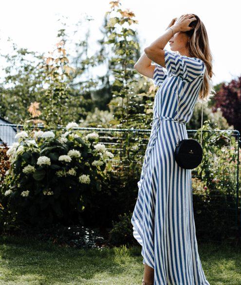 Bridesmaid Dress Stripes: Reformation Wrap Dress | Bikinis & Passports