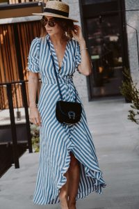 Aigner Pina Bag, Reformation Wrap Dress, Lack of Color Spencer Boater Hat - Bikinis & Passports