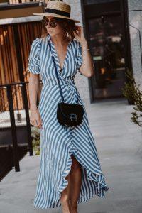 Aigner Pina Bag, Reformation Wrap Dress, Lack of Color Spencer Boater Hat - Bikinis & Passports