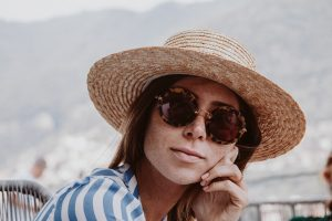 Miu Miu Sunglasses, Reformation Wrap Dress, Lack of Color Spencer Boater Hat - Bikinis & Passports