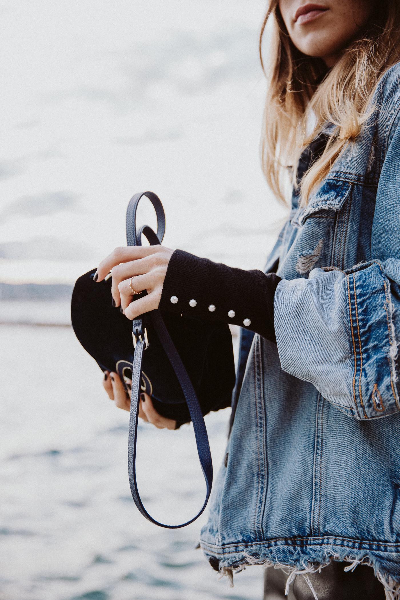 Aigner Pina Bag, Blue Velvet | Bikinis & Passports