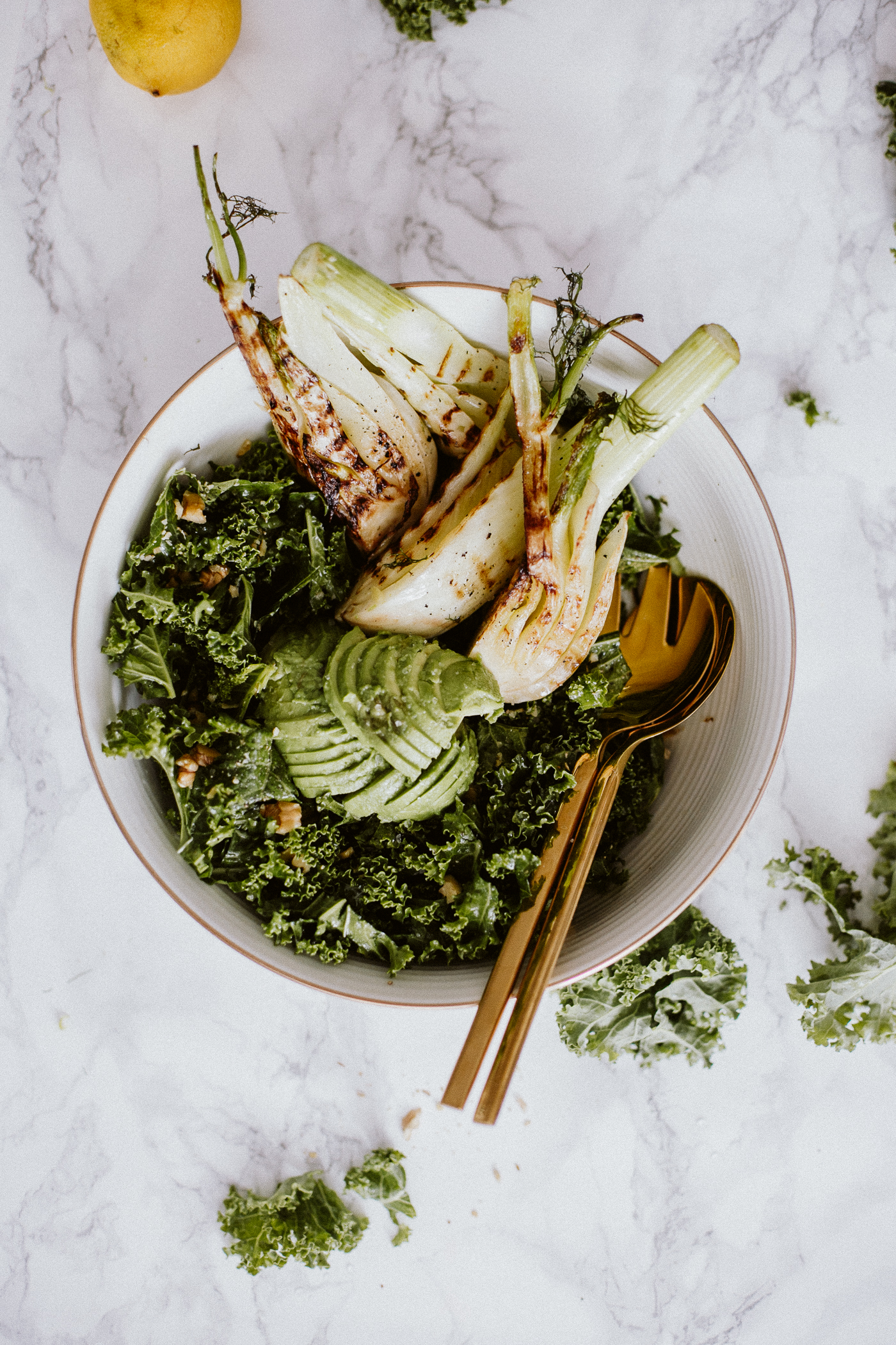 Winter Kale Salad with Grilled Fennel Recipe | Bikinis & Passports