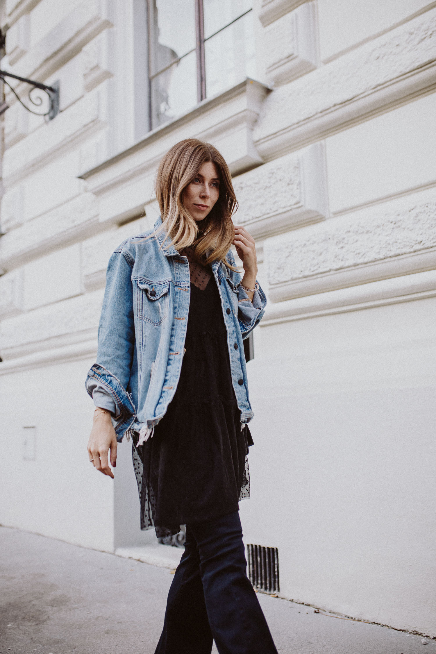 Image result for flared jeans with denim jackets