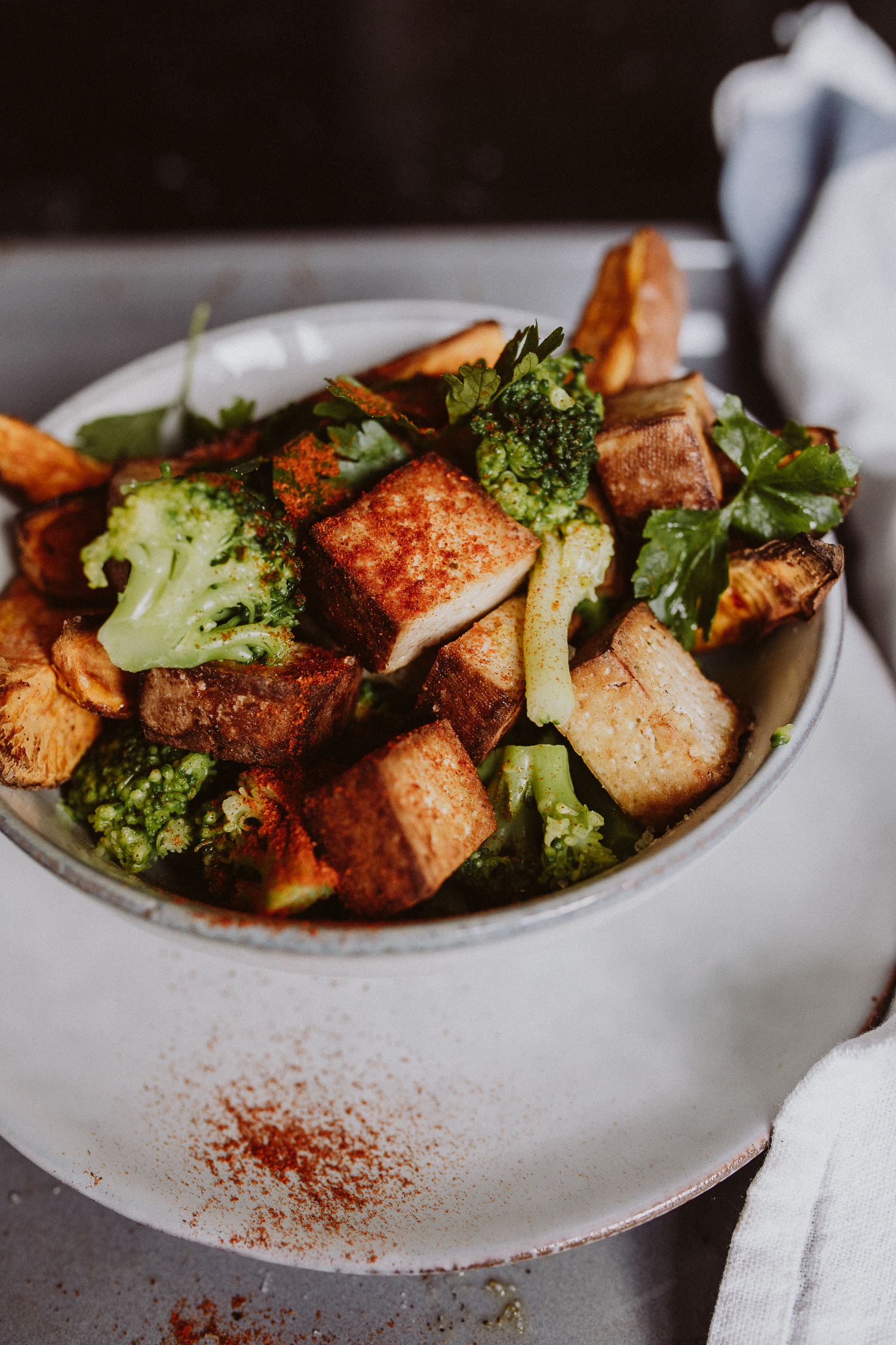 Recipe: Broccoli & Sweet Potato Tofu Bowl | Bikinis & Passports