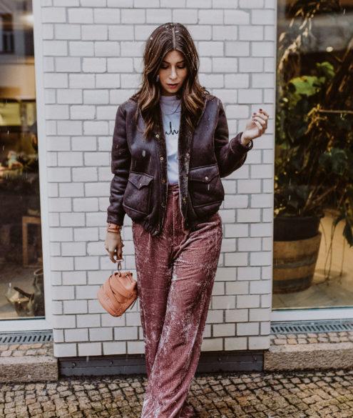 Mango pink velvet pants | Bikinis & Passports