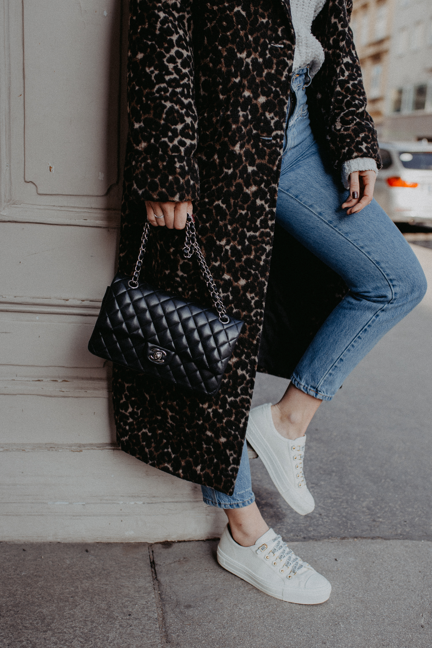 Outfit: Chanel classic flap bag + Dior sneakers | Bikinis & Passports