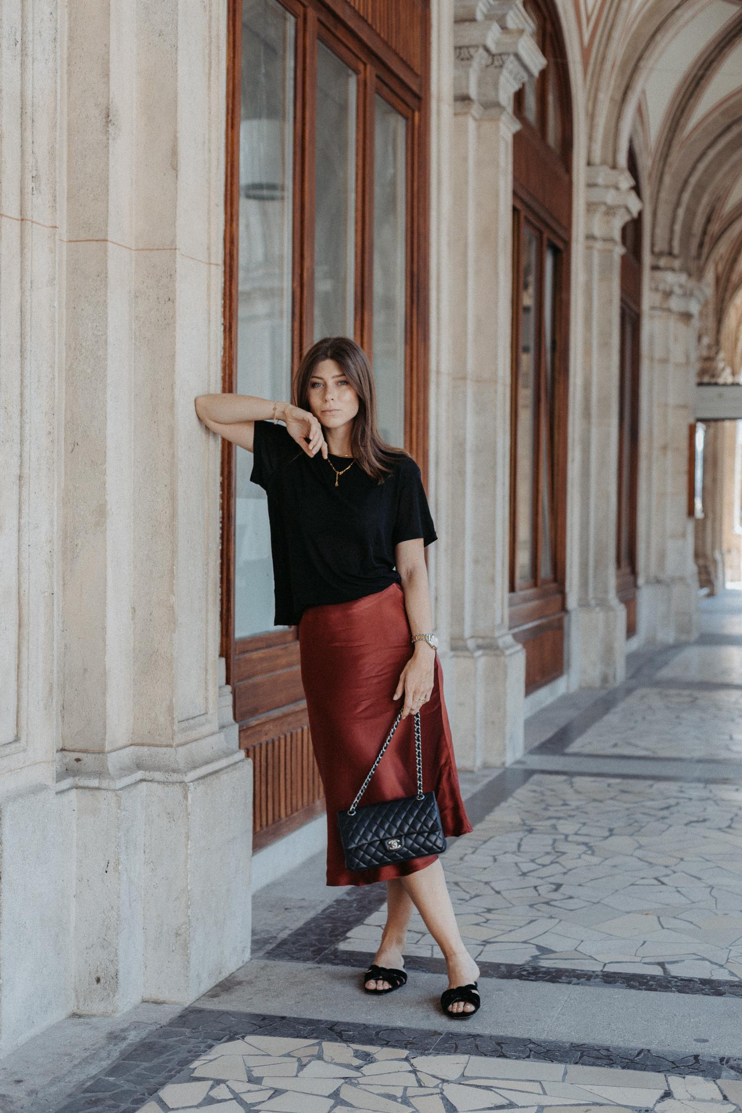 Red silk skirt, midi skirt | Bikinis & Passports