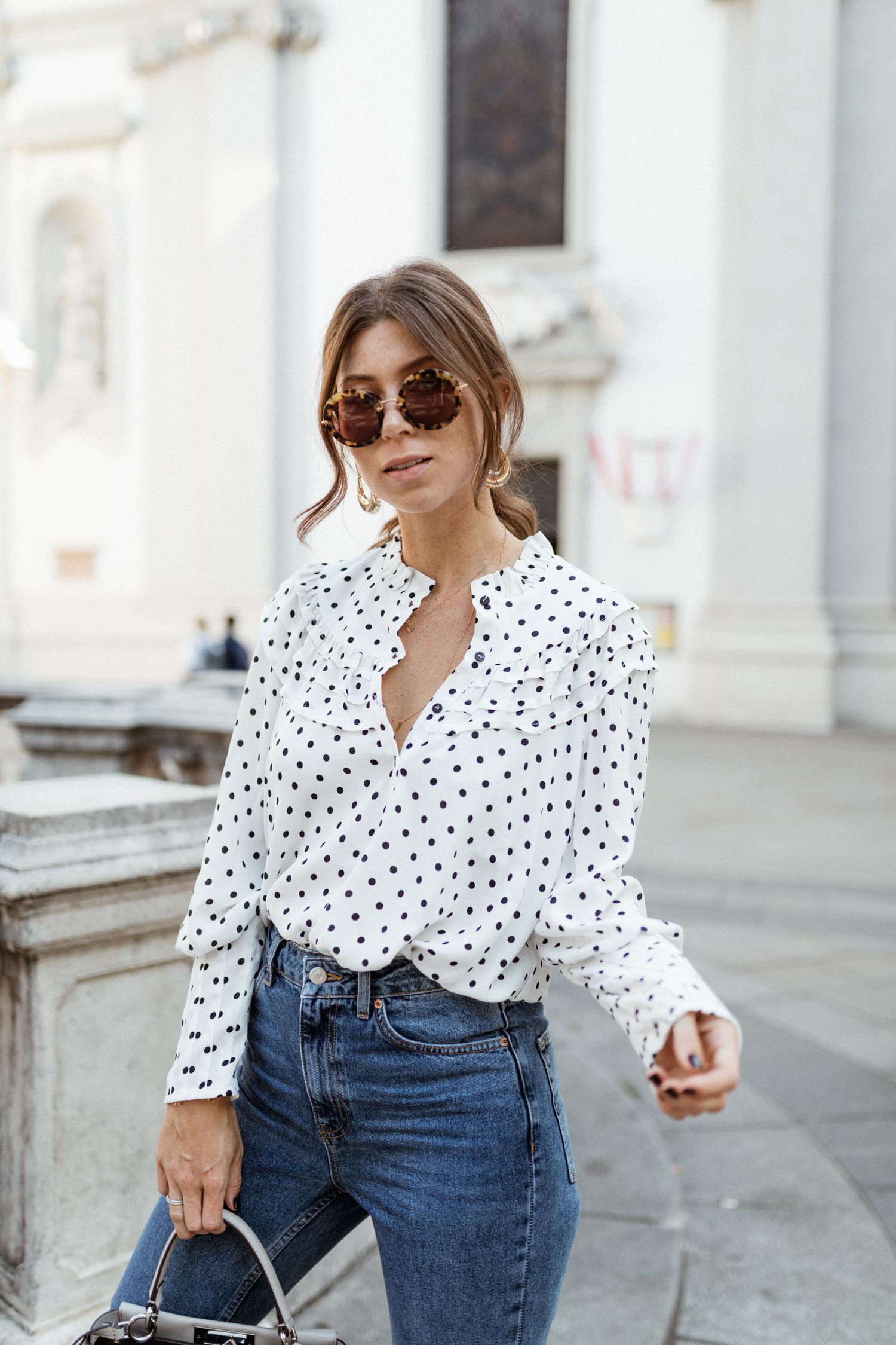 Topshop spot Frill neck blouse & jeans, Fendi bag, Miu Miu sunglasses, Public Desire heels - Bikinis & Passports