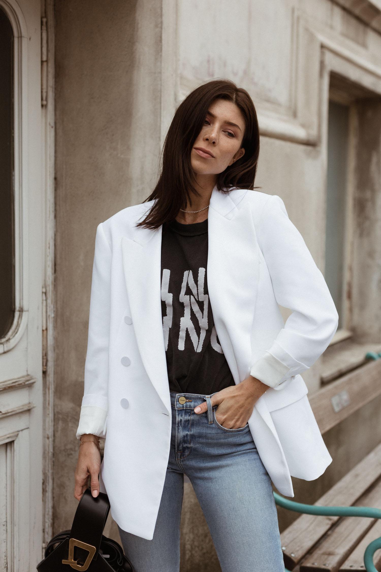 MSGM crepe and satin white blazer - Bikinis & Passports
