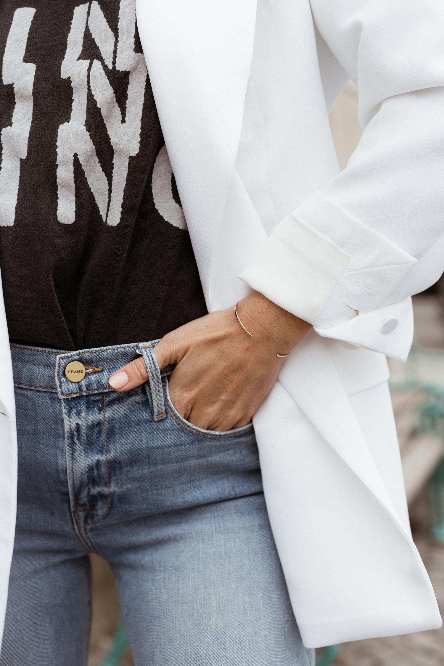 Mytheresa Free Shipping: How to style a white blazer casual - Bikinis & Passports