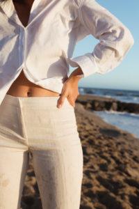 Pants with Hem Slit - Bikinis & Passports