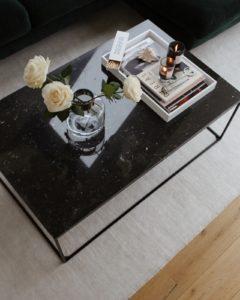 Coffee Table Styling Tips: Green Velvet Sofa + Black Marble Coffee Table - Bikinis & Passports